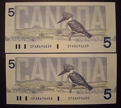 Canada 2 Consecutive 1986 BC-56c $5 Notes GPA8696639 - 40 - GemUnc