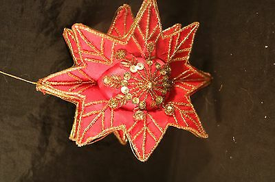 """Vintage Christmas Ornament Beaded Sequins & Pins Handmade Red & Gold 3d Star 7"""""""