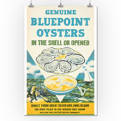 Bluepoint Oysters (Kotula) 1940 - Vintage Ad (24x36 Giclee Print)