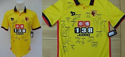 2016-17 Watford Home Shirt Signed by Squad with Complete Signature Map (10171)