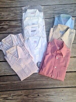 Lot of 9 Vintage Mens Shirts Size Medium Work Casual Friday Hipster 1960s 1970s
