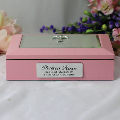 Baptism Pink Memory Keepsake Box - Personalised - Add a Name & Message