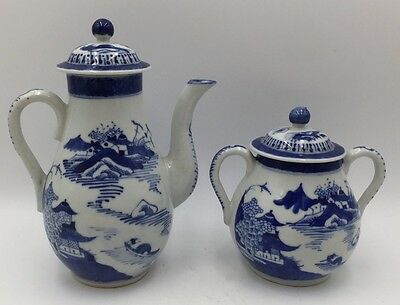 Antique Chinese Blue & White Porcelain Canton Export Teapot & Lidded Sugar Bowl