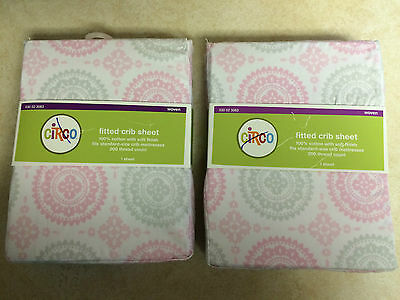 2 total Circo Pink Gray Medallion Fitted Crib Sheet toddler bed sheet (NEW)