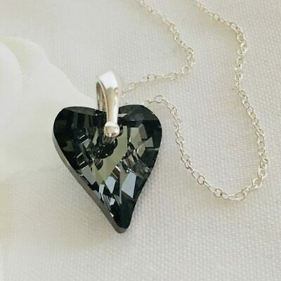 925 Silver Crystal Wild Heart Necklace Swarovski Elements Pendant Silver Night