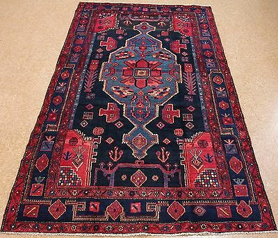 PERSIAN NAHAVAND Tribal Hand Knotted Wool NAVY BLUE RED Oriental Rug 5 x 9