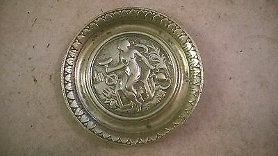 Vintage Brass Plate Plaque 4.5 Inches Diameter. Picture of Woman