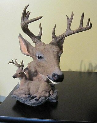 DEER HEAD STATUE Buck Antlers -  Desktop Figurine