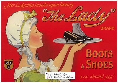 Vintage British Advertising Poster: LADY BOOTS: A3 Reprint