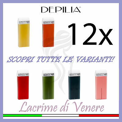 Depilia 12 Ricariche Rullo Cera Depilatoria Cartuccia Roll-On Ceretta 100 Ml