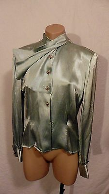 40s Green Satin Blouse w/ Fancy Buttons and Cool Scarf Collar sz M
