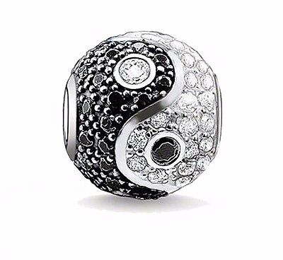 New Silver Plated Yin Yang Balance Charm fit European brand Bracelet Uk Seller