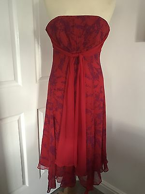 Striking Monsoon Red Silk Evening Dress With Purple Pattern, Size 8!