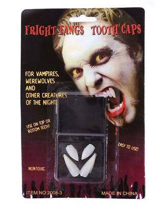 2 PAIRS x VAMPIRE FANS Teeth Tooth Cap Fright Night Werewolf Fangs Halloween