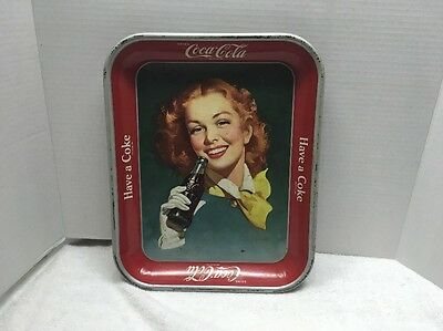 Drink Coca-Cola Tray / Red Hair Lady Holding Bottle / Have A Coke / 1950's