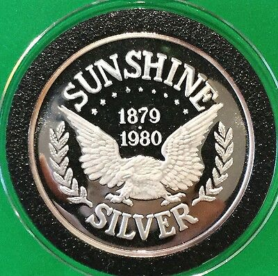1980 Sunshine Mint (2nd Year) Proof Collectible 1 Troy Oz .999 Fine Silver Round