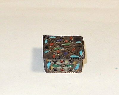Chinese Sterling Silver Cloisonne Enamel Pill Snuff Jar Box 92.5