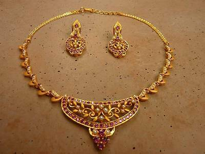 Vtg Victorian Style Solid 22K Gold Rhodolite Seed Pearl necklace Earrings Set