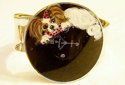 hand painted Papillon painting Ottimo quartz watch stainless steel backing sz Lg