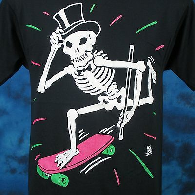 vintage 80s SKATE TUXEDO SKELETON CARTOON T-Shirt SMALL board skull punk thin
