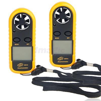 2pcs GM816 Handheld Air Wind Speed Gauge Meter Digital Anemometer Thermometer