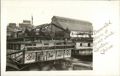 Canton China Decorated River Junk Ship c1910 AMATEUR Real Photo Postcard rtw