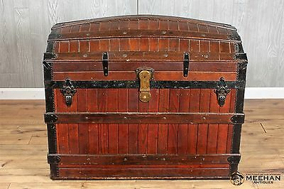 ANTIQUE 1880s OAK SLAT AMERICAN STEAMER DOME TOP TRUNK GREAT CONDITION