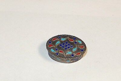 Chinese Sterling Silver Cloisonne Enamel Oval Pill Snuff Jar Box 92.5