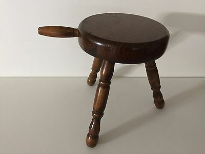 "Vintage Farmhouse Decor Authentic Wooden 3 Leg Milking Stool w/Handle, 11 1/2"" T"