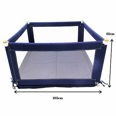 Fabric Baby Kids Toddler Safety Playpen Square - Blue