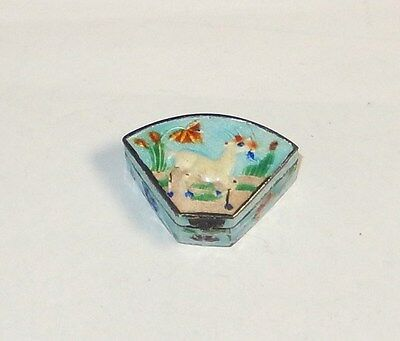 Chinese Goat Design Sterling Silver Cloisonne Enamel Pill Snuff Jar Box
