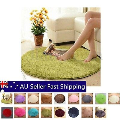 0.4-2M Fluffy Rugs Anti-Skid Shaggy Area Rug Home Bedroom Carpet Round Floor Mat
