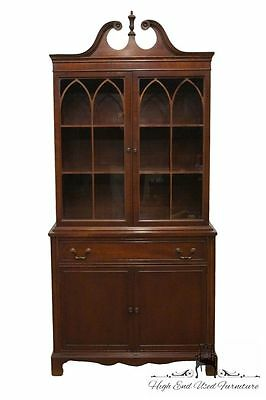1940's Antique Mahogany Pediment Top 37″ China Cabinet / Bookcase