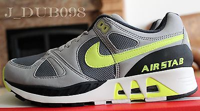 Nike Air Stab 312451-003 Grey Volt New Size 9 Cool Wolf Running Men Suede