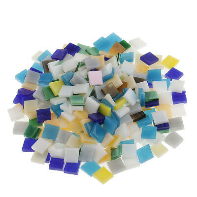 250x Multicolor Square Glass Pieces Mosaic Tiles Tessara for Crafts 10x10mm