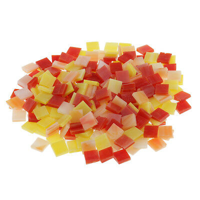 250pcs Vitreous Glass Mosaic Tiles Pieces for DIY Craft 10x10mm Red+Yellow