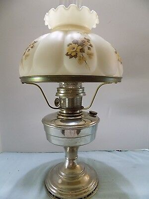 """Antique  Aladdin Nickel Plate Oil Lamp WITH 10"""" Fitter Glass Shade."""