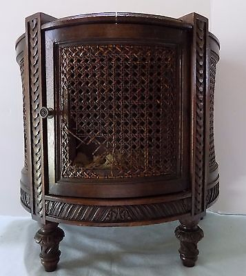 Short Marble Top Cabinet  Woven and Carved Sides Caning  Unique  Rare  (Rx-20)