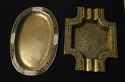 Middle East Brass Ornate Ashtray and Hand Painted Engraved Tray
