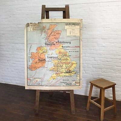 Industrial Vintage French Hatier School United Kingdom Britain Wall Hanging Map