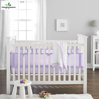 Baby Crib Bedding Set 3 Pc Breathable Liner Fitted Sheet Blanket Lavender Girls