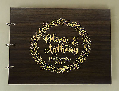 Personalized Name Engraved Bride & Groom Advice Book Wedding Wooden Guest Book