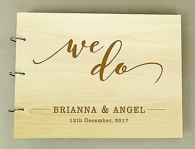 Wedding Wooden Engraved Bride & Groom Name Advice Book Personalized Guest Book