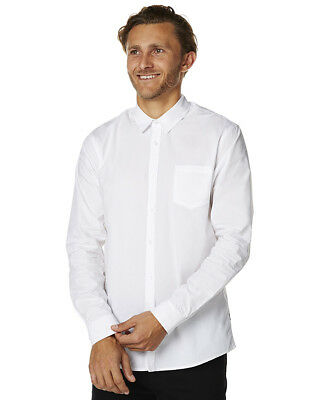 New Swell Men's Ls Mens Shirt Long Sleeve Cotton White