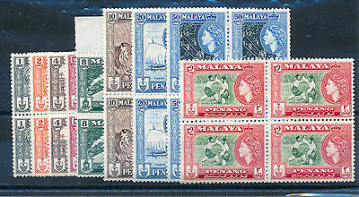 Malaya Penang 1957 Definitives Sg44/51+53 Blocks Of 4 Mnh