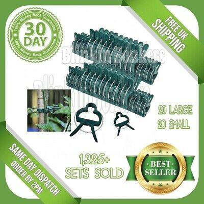 Small & Large Garden Clips Plant To Cane Support Plastic Spring Sprung Ties 40B