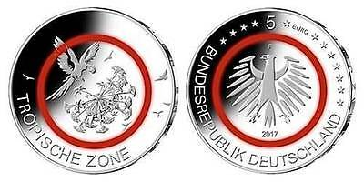 "Deutschland 5 Euro ""Tropische Zone"" Gedenkmünze in QUADRUM Intercept Kapsel"