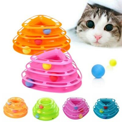 Pet Cat Crazy Ball Kitty Interactive Motion Disk Amusement Plate Trilaminar Toy