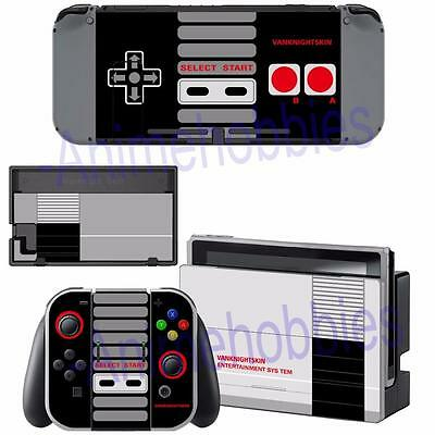 Nintendo Switch Console Joy-Con Dock Skin NES Retro Vinyl Sticker Decals Covers