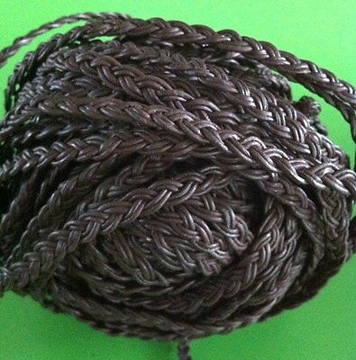1m x 6mm Brown Flat Plaited Leather Strap 6x2mm - belt/cord/jewellery/bag/hat